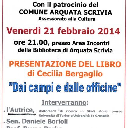 """Presentazione libro: """"Dai campi e dalle officine"""" di Cecilia Bergaglio"""