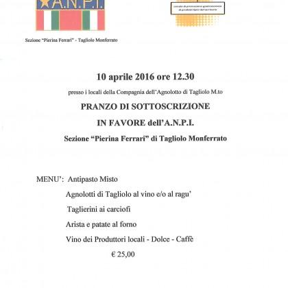 festa dell'A.N.P.I. a Tagliolo Monferrato – domenica 10 aprile –