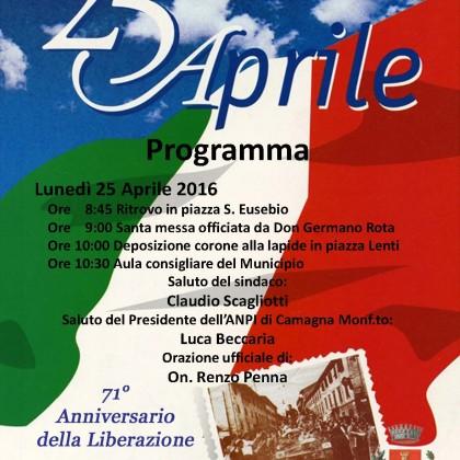 a Camagna Monferrato 25 Aprile con Comune e A.N.P.I.
