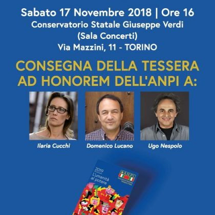 Tessera ad honorem dell'ANPI a Ilaria Cucchi, Domenico Lucano e Ugo Nespolo