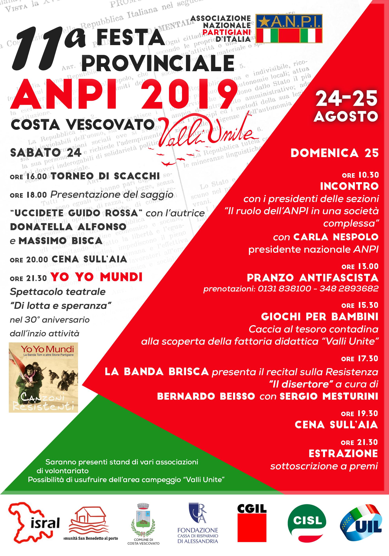 11° Festa Provinciale dell'ANPI a Valli Unite – 24-25 Agosto 2019