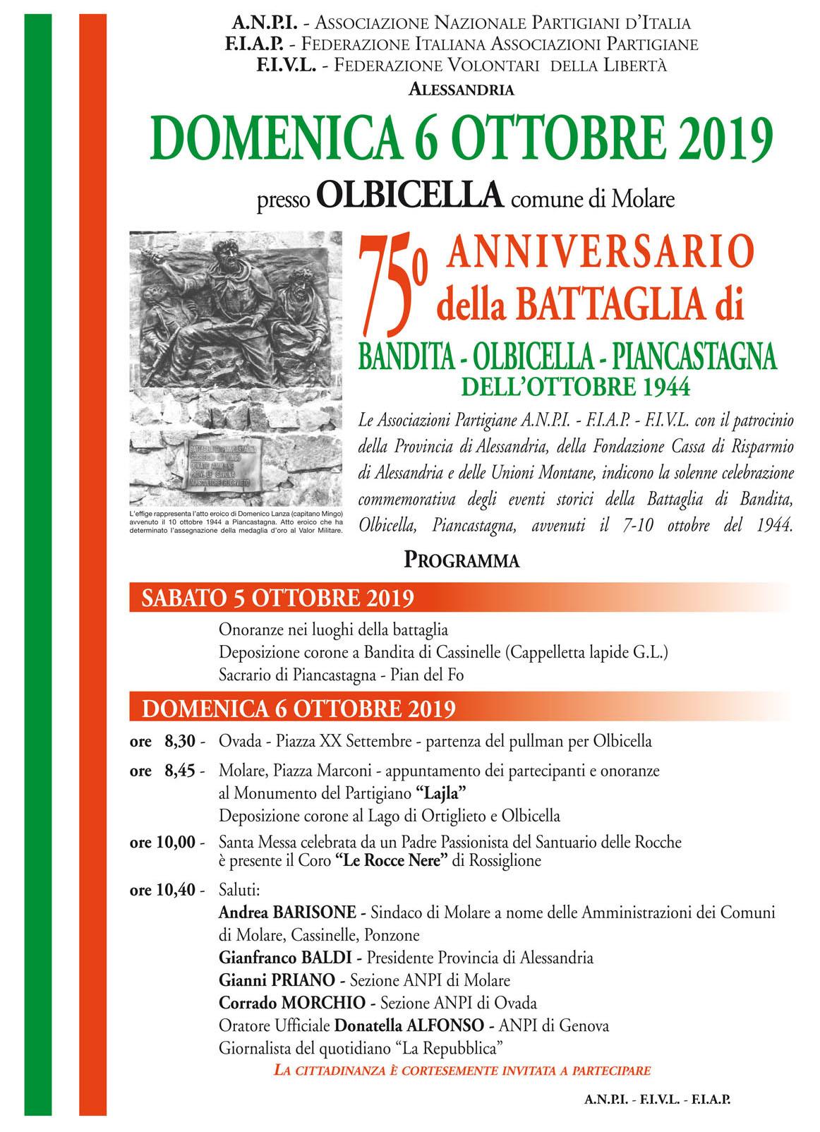 75° Anniversario della Battaglia di Bandita-Olbicella-Piancastagna