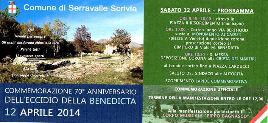 Commemorazione del 70° Anniversario dell'eccidio della Benedicta a Serravalle Scrivia