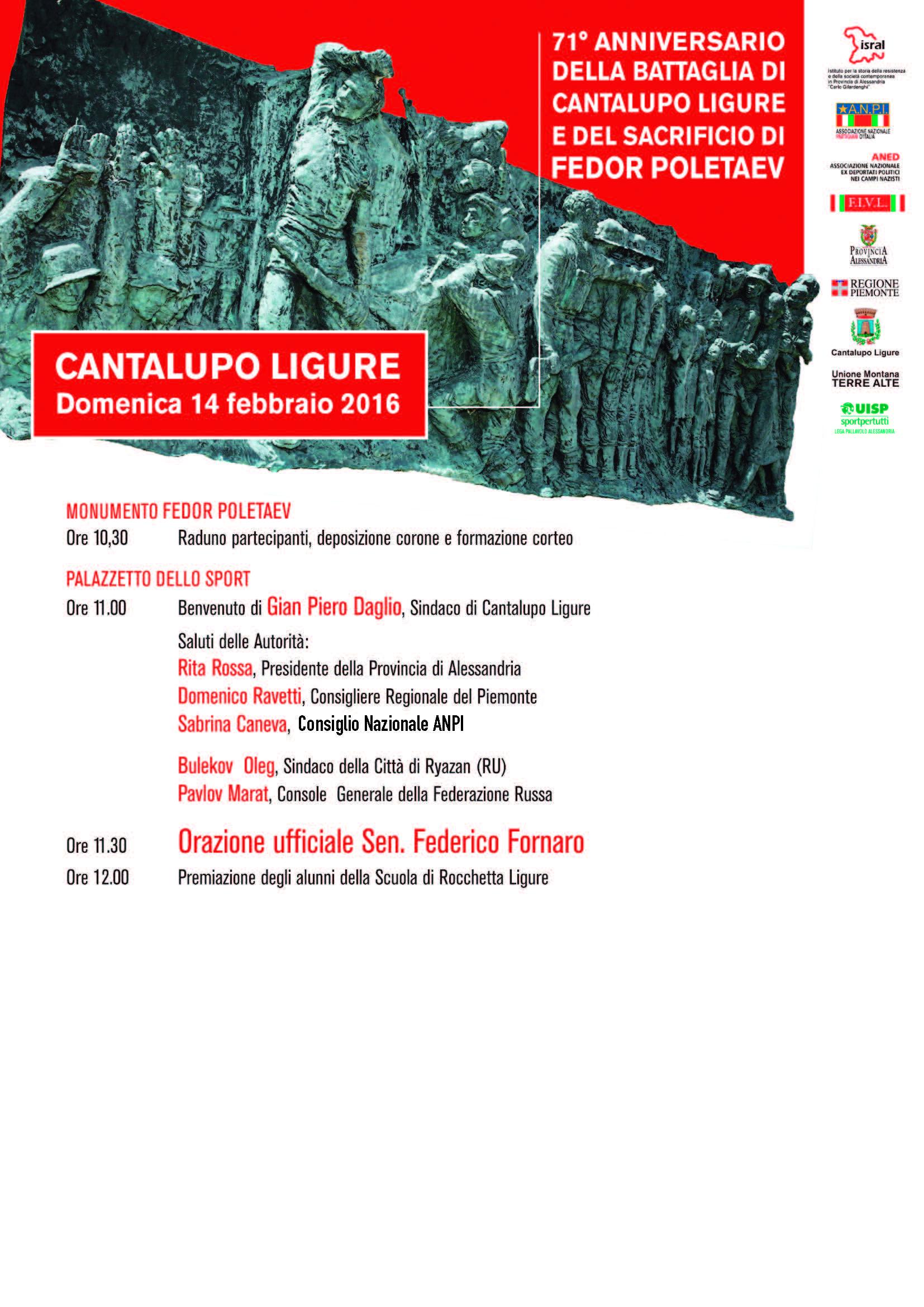 71° anniversario della battaglia di Cantalupo Ligure  – domenica 14 febbraio 2016