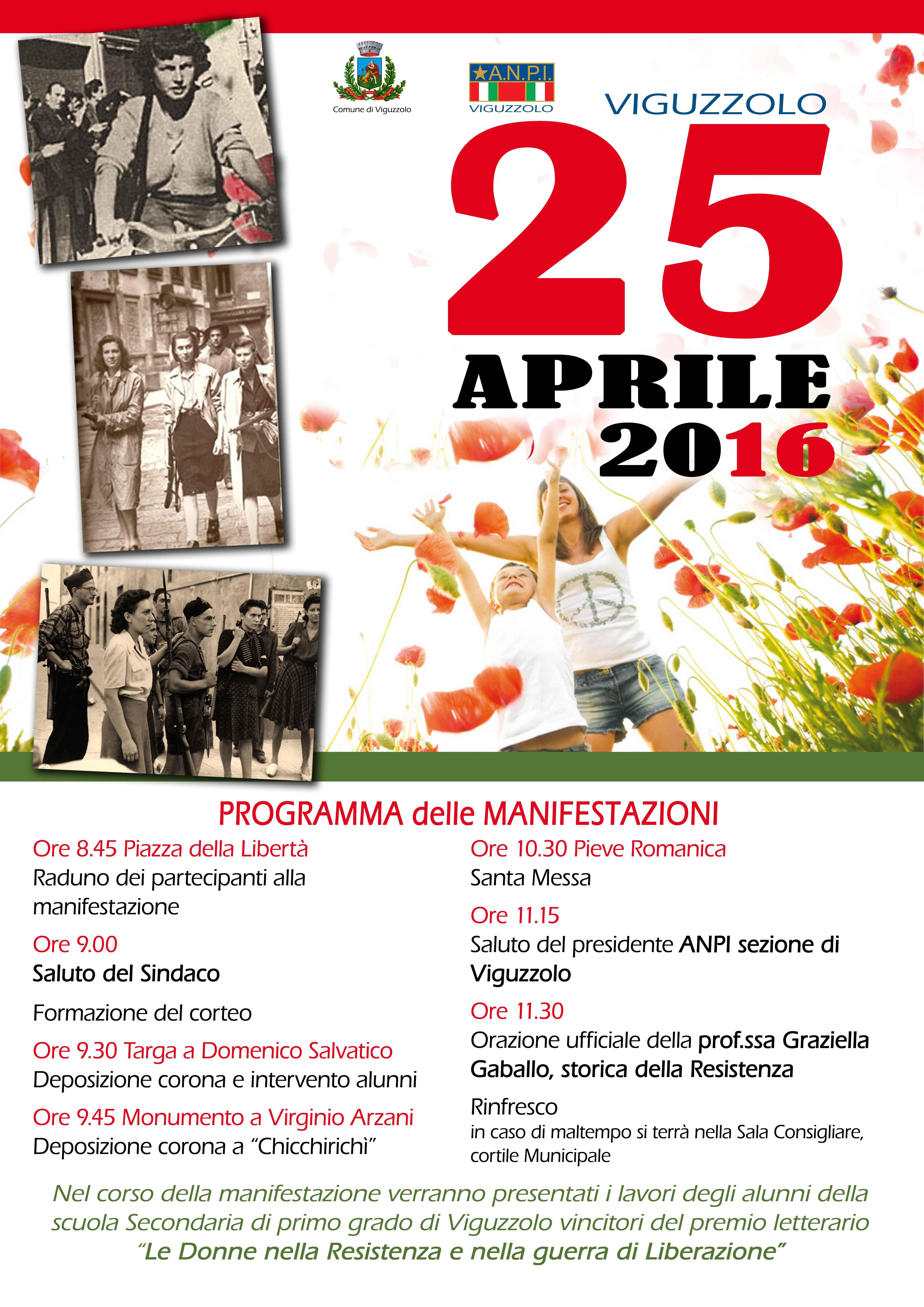 il 25 aprile a Viguzzolo con Comune, A.N.P.I. e Scuole