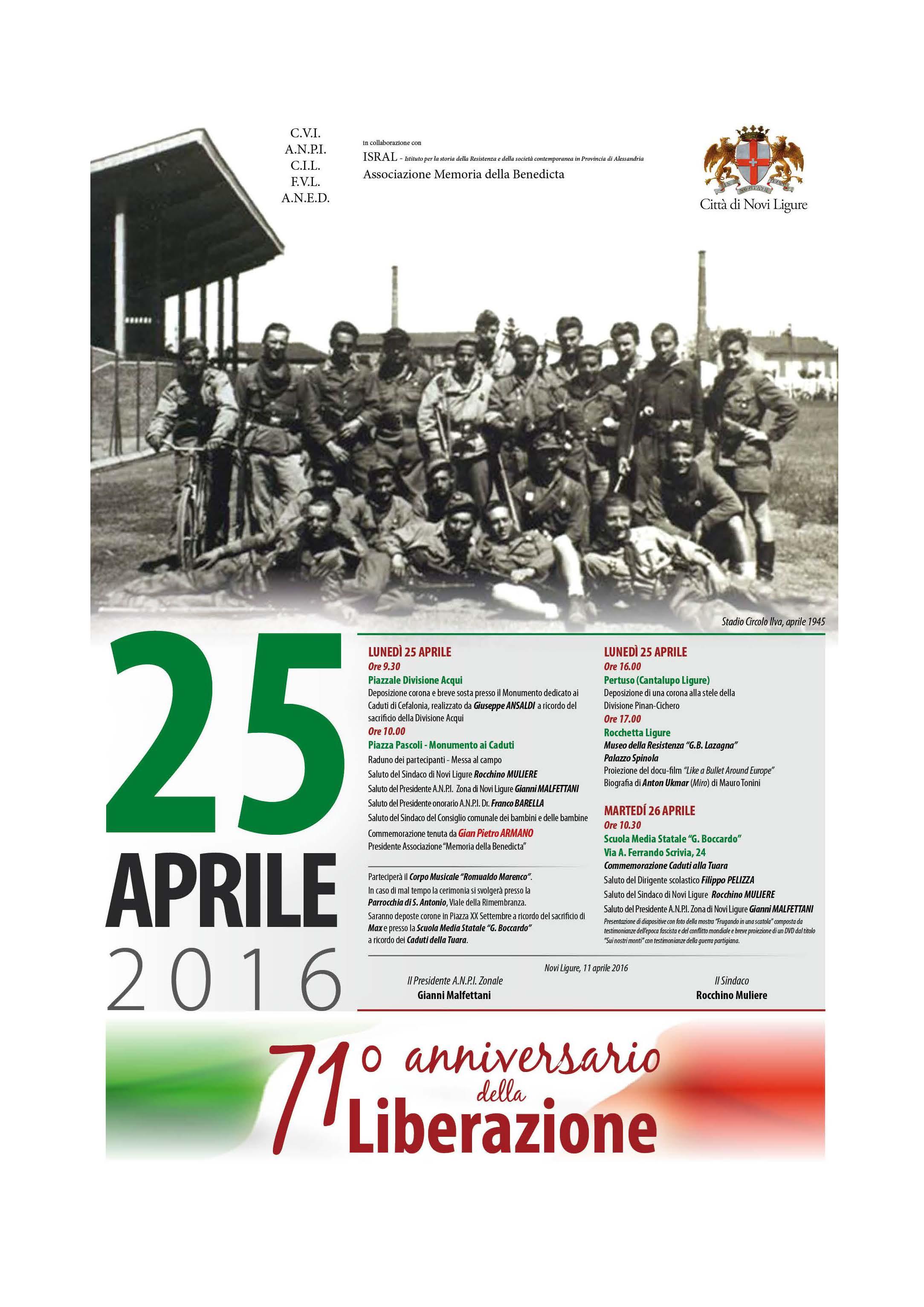 il 25 aprile a Novi Ligure con A.N.P.I. e Comune